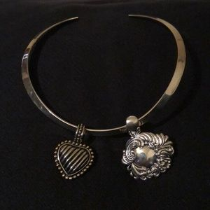 Silver Neck Collar  With 2 Pendants